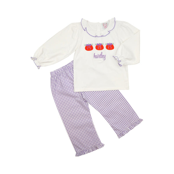 Lavender Windowpane Pumpkin Pant Set
