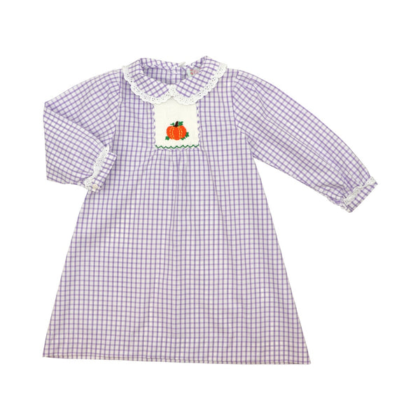 Lavender Windowpane Smocked Pumpkin Dress