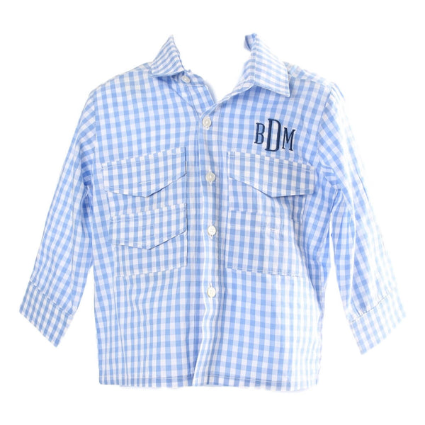 Light Blue Check Long Sleeve Fishing Shirt with Mesh Lining and Velcro Pockets