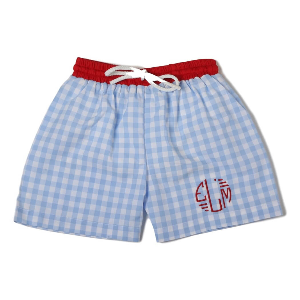 Light Blue Check Swim Trunks with Red Band