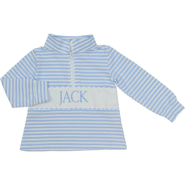 Light Blue Knit Mini Stripe Pullover