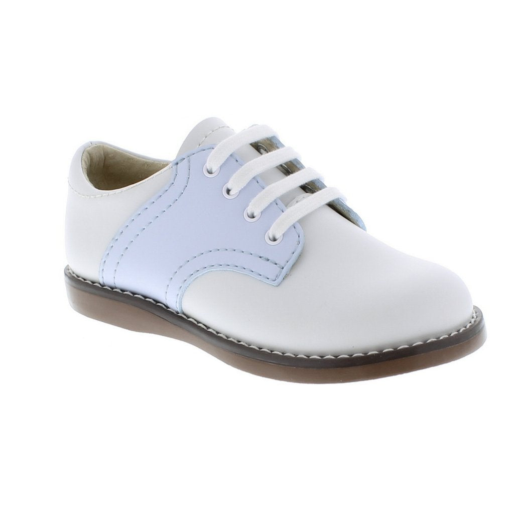 White and Light Blue Cheer Footmates Leather Shoes (Toddler/Little Kid)