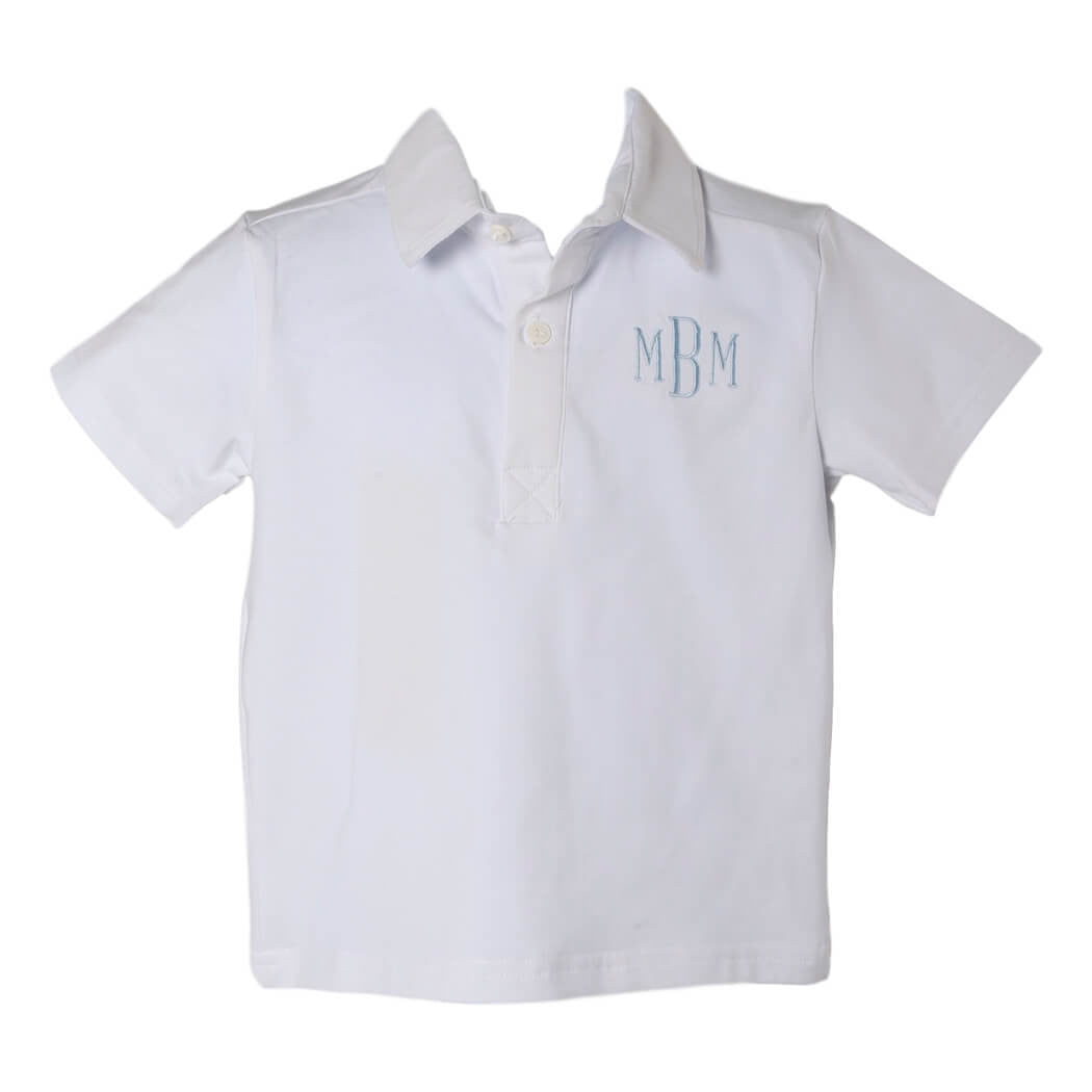 Little Boys White Knit Polo