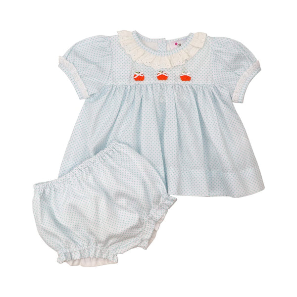 Mint Dot Pique Eyelet Pumpkin Diaper Set