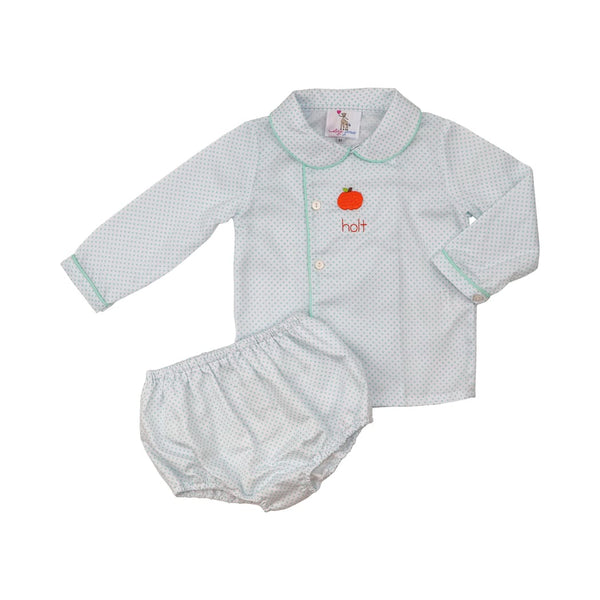 Mint Dot Pique Pumpkin Diaper Set