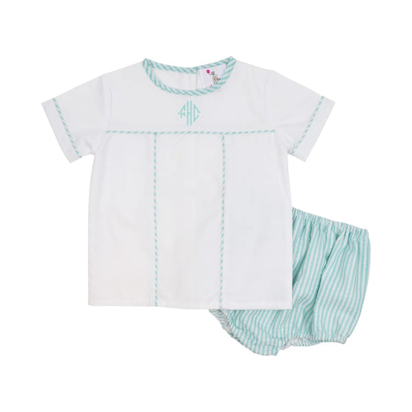 Mint Seersucker Diaper Set