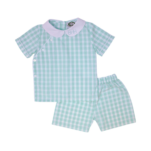 Mint Check Side Button Short Set