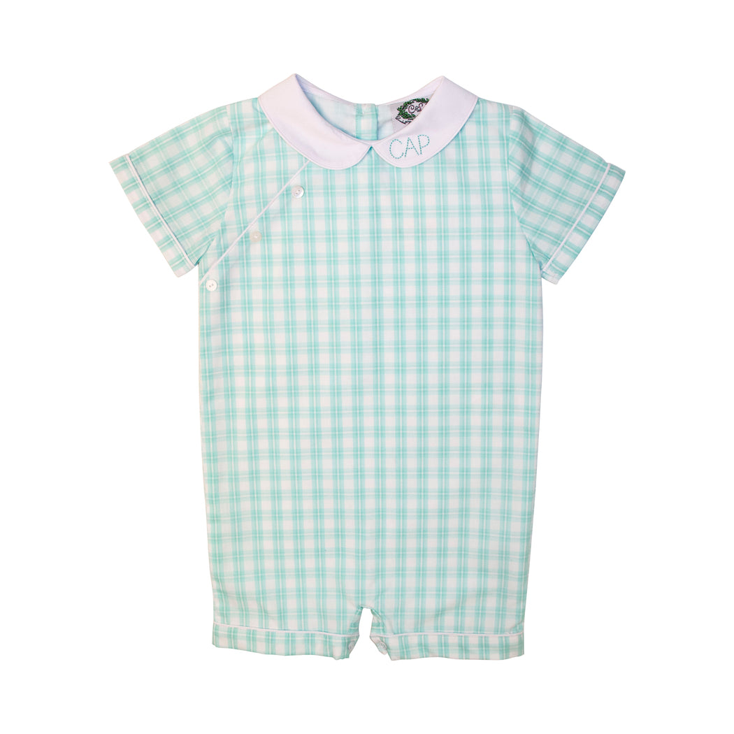 Mint Plaid Side Button Short Romper
