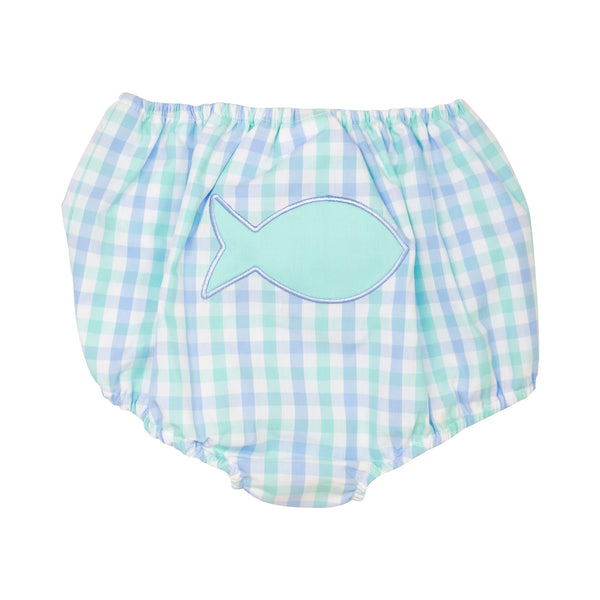Mint and Blue Check Applique Fish Swim Bloomer