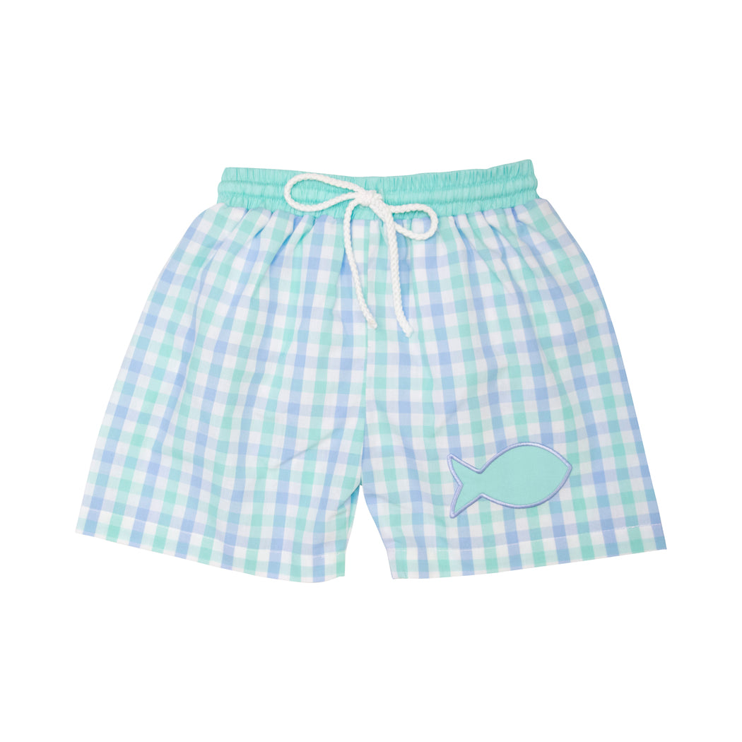 Mint and Blue Check Applique Fish Swim Trunks