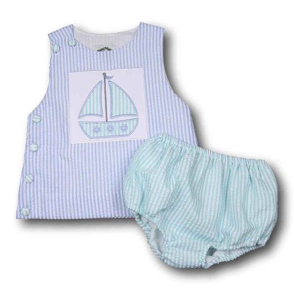 Mint and Blue Seersucker Sailboat Diaper Set