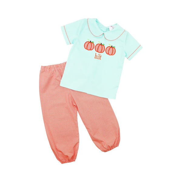 Mint and Orange Gingham Pumpkin Pant Set
