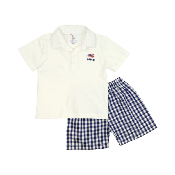 Navy Check Embroidered Flag Polo Set