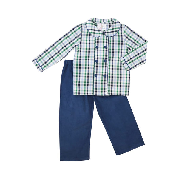 Navy Corduroy and Green Plaid Pant Set