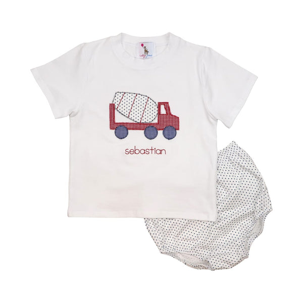 Navy Dot Knit Applique Mixer Truck Diaper Set