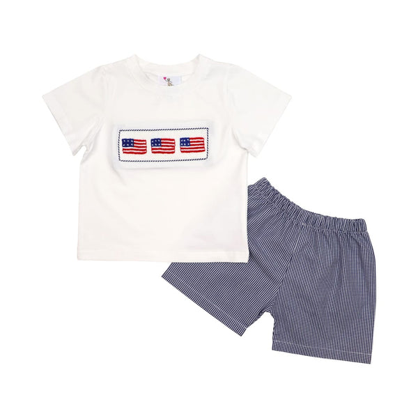 Navy Gingham Smocked Flag Short Set