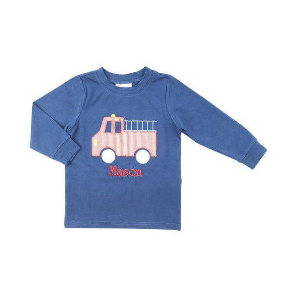 Navy Knit Firetruck Shirt