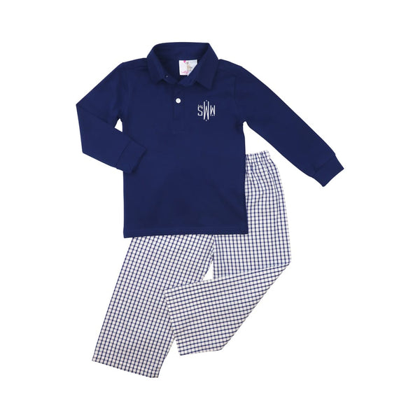 Navy Windowpane Polo Pant Set