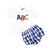 Navy Check Applique ABC Diaper Set