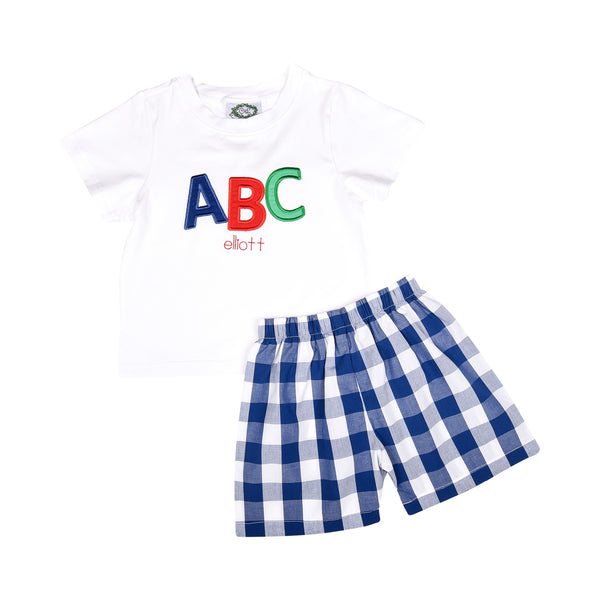 Navy Check Applique ABC Short Set