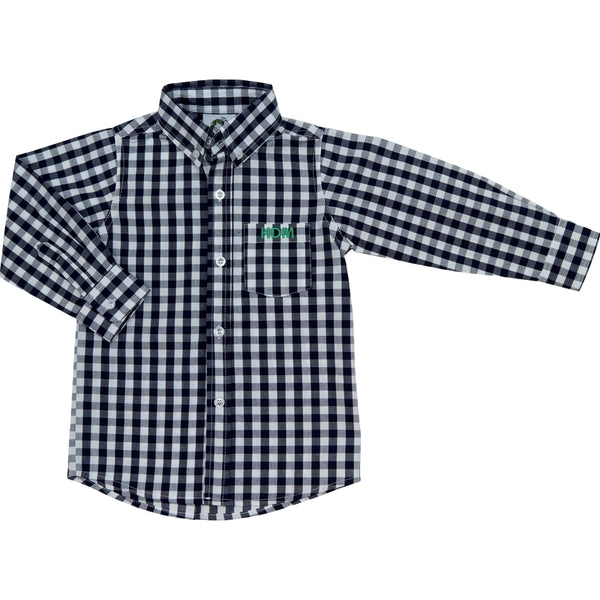Navy Check Button Down Shirt