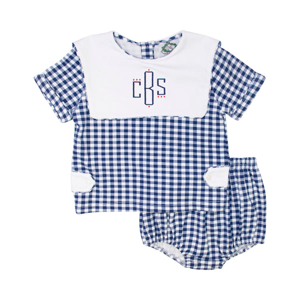 Navy Check Knit Diaper Set