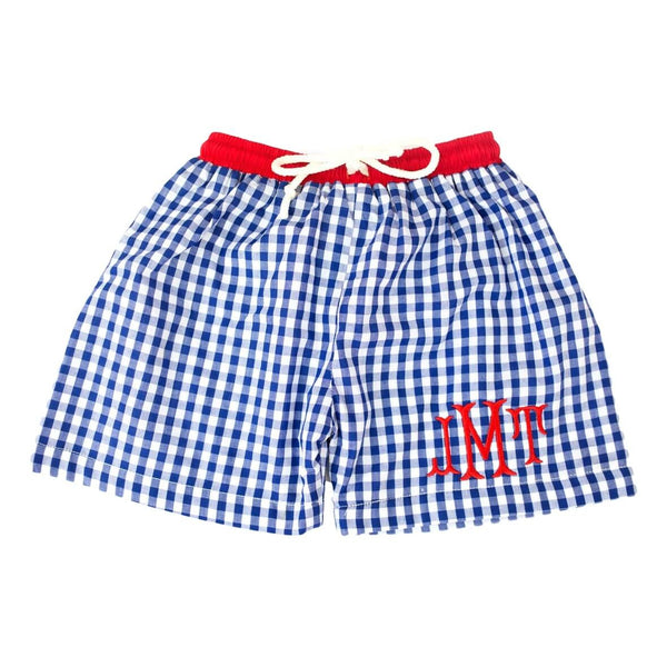 Navy Check Swim Trunks with Red Trim