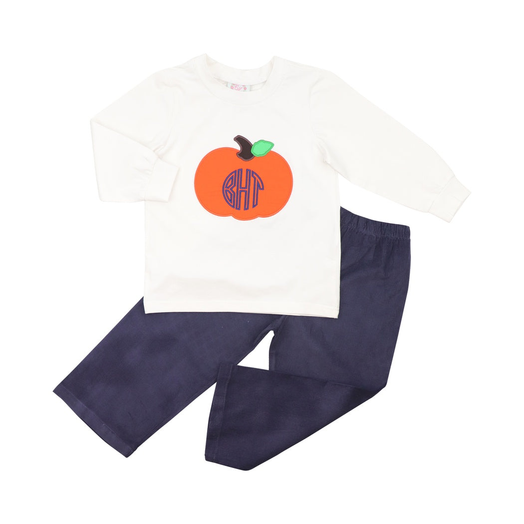 Navy Corduroy Pumpkin Pant Set