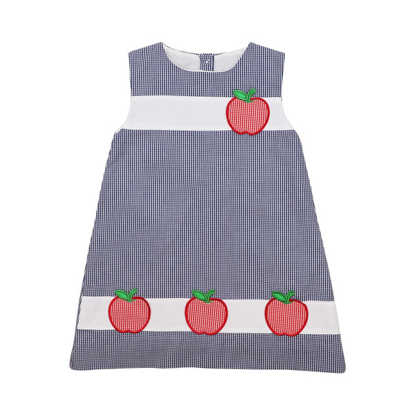 Navy Gingham Apple Dress
