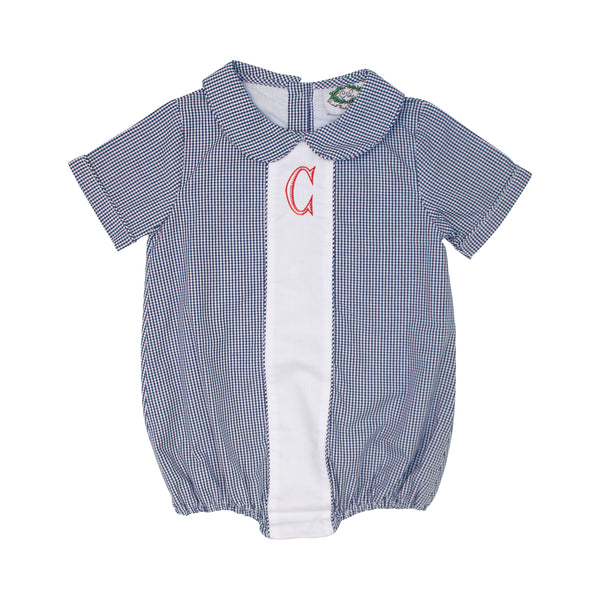 Navy Gingham Boys Bubble