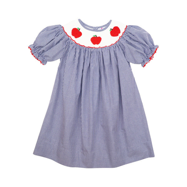 Navy Gingham Smocked Apple Bishop Dress
