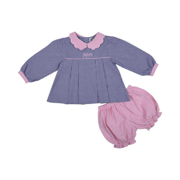 Navy Gingham and Pink Cord Bloomer Set