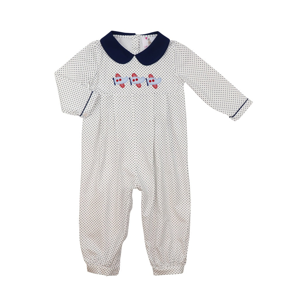 Navy Knit Dot Airplane Long Romper