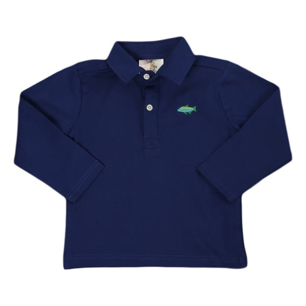 Navy Knit Embroidered Fish Polo