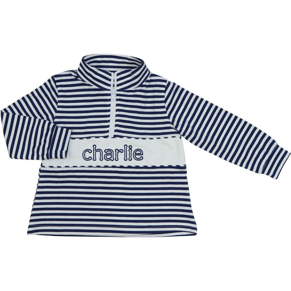 Navy Knit Mini Stripe Pullover