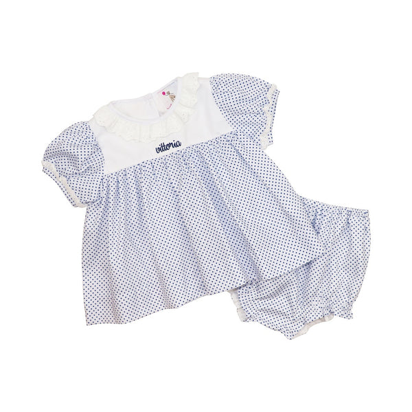 Navy Pique Dot Eyelet Diaper Set