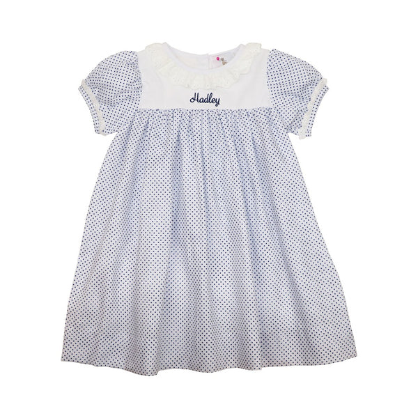 Navy Pique Dot Eyelet Dress