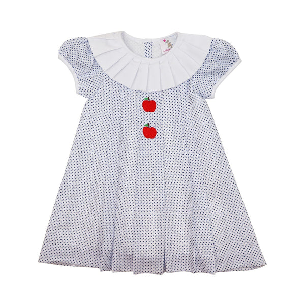 Navy Pique Dot Pleated Apple Dress