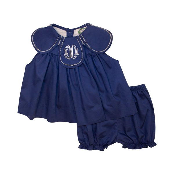 Navy Pique Eliza Bloomer Set