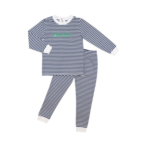 Navy Stripe Knit Pajamas
