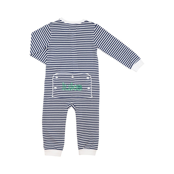 Navy Stripe Knit Zipper Pajamas