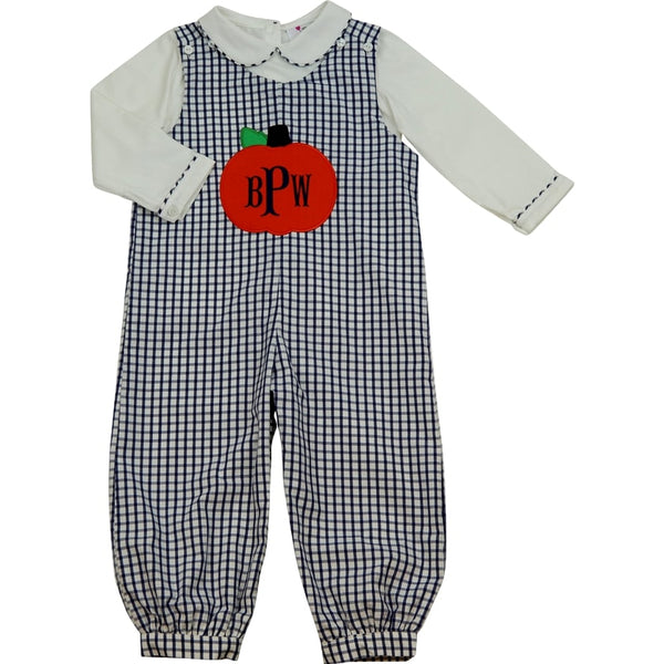 Navy Windowpane Applique Pumpkin Long Romper (Shirt Included)
