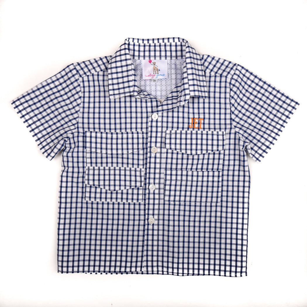 Navy Windowpane Fishing Shirt