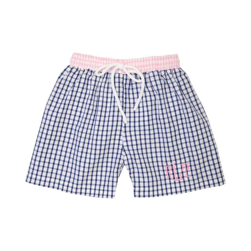 Navy Windowpane Swim Trunks with Pink Trim