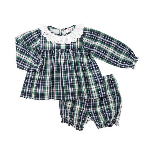 Navy and Green Plaid Eyelet Collar Bloomer Set