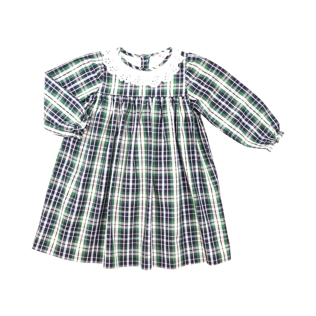 Navy and Green Plaid Eyelet Collar Dress