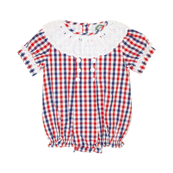 Navy and Red Check Girls Bubble with Eyelet Collar