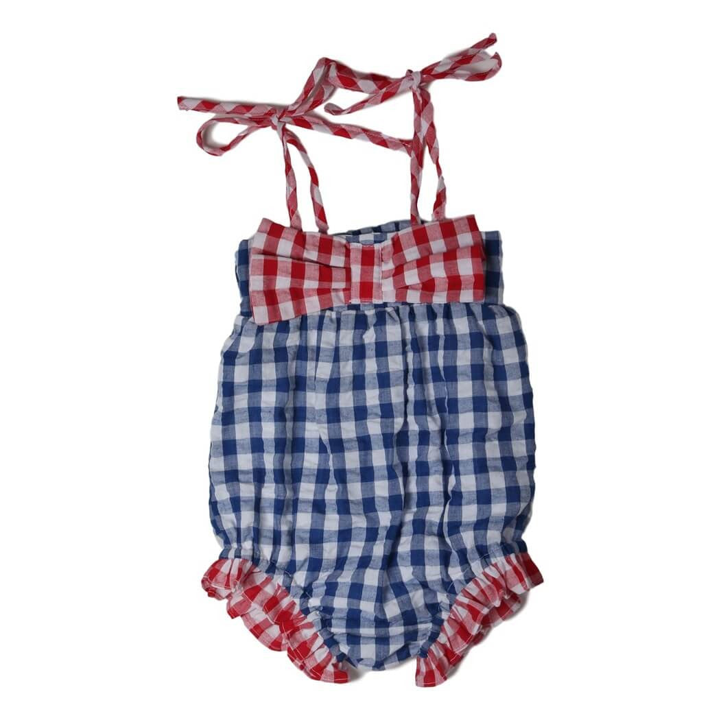 Navy and Red Check Seersucker Bow Swimsuit