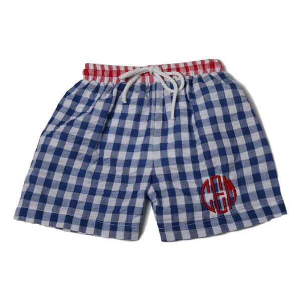 Navy and Red Check Seersucker Swim Trunks