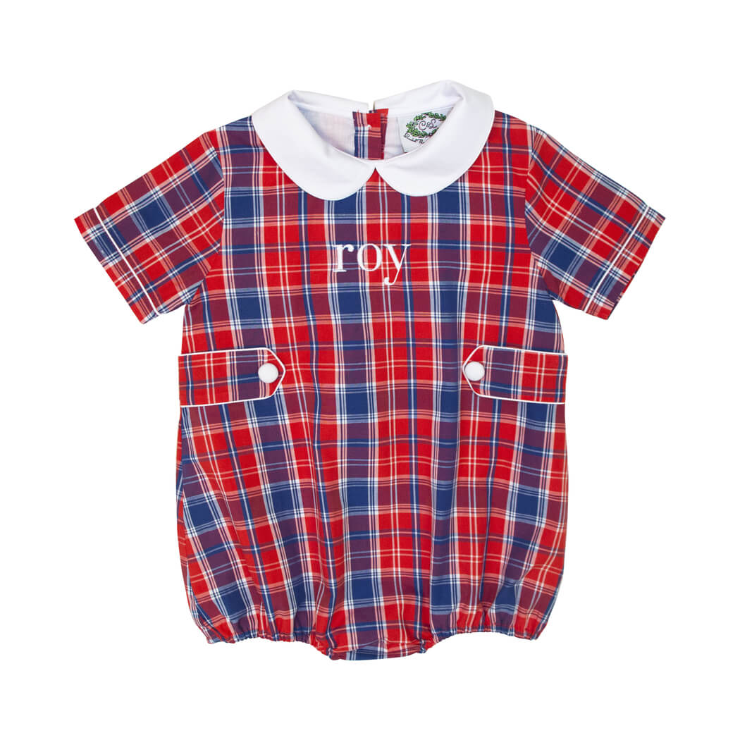 Navy and Red Plaid Boys Bubble